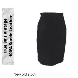 NOS Vintage 80's Black Suede Leather Skirt